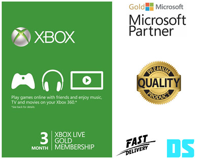 3 Month Xbox Live Gold Membership Microsoft Xbox 360/Xbox One Fast Dispatch