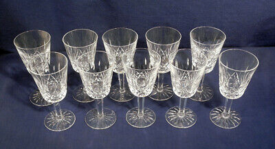 "Waterford Crystal Glass Lismore 10 White Wine Goblets Glasses 5-5/8"" x 2-5/8"""