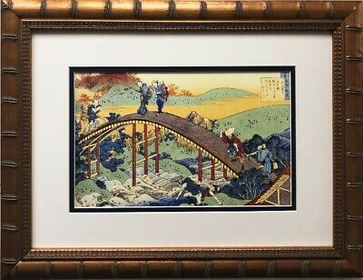 "Katsushika Hokusai ""People on Bridge"" 1830 New Custom Framed Asian Art"