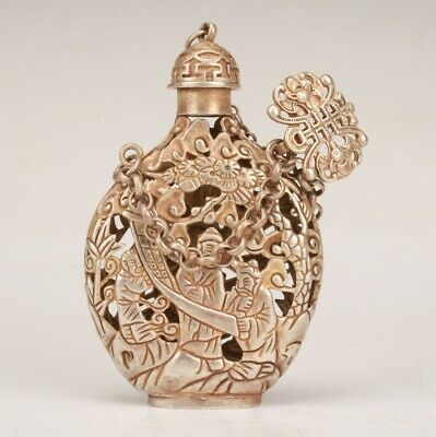 Chinese Tibet Silver Hand  Carved Scenery Snuff Bottle Collection Gift