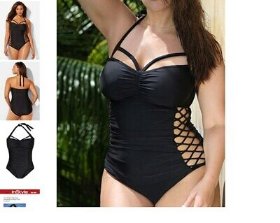 6785f30001306 plus size ASHLEY GRAHAM boss underwire maillot sexy cutout SWIMSUIT 16  black a2