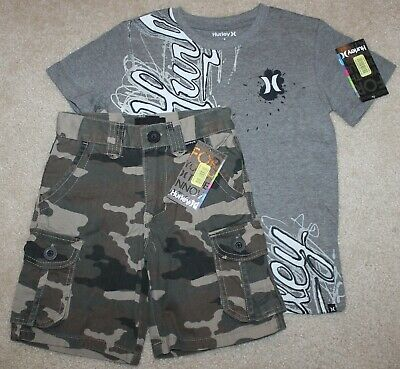New! Boys Hurley Summer Outfit (Shirt, Cargo Shorts; Camo; Gray) - Size 5
