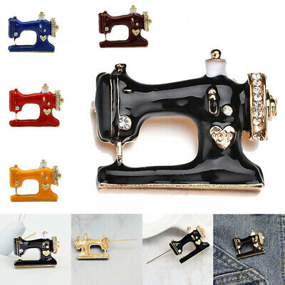 Creative Sewing Machine Womens Black Enamel Collar Brooch Pin Jewelry Gift