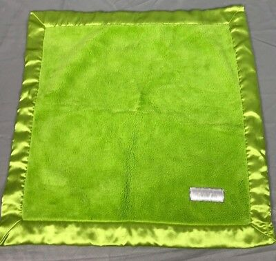 """Elegant Baby Bright Lime Green Satin Baby Security Blanket 20"""" Lovey Square"""