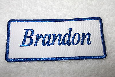 IRON ON NAME PATCH 1-1//2  X3-1//2 BLUE ON WHITE BILLY NEW EMBROIDERED  SEW
