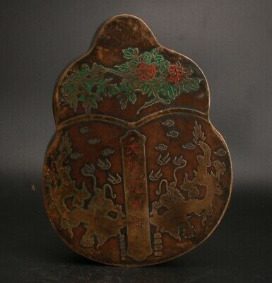 Rare Chinese Copper Handmade Gourd Model Jewelry Box Old Collection Decoration