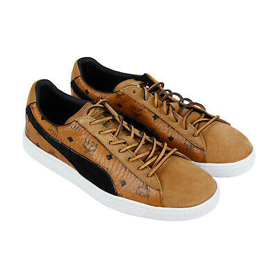 buy online e4777 356d9 PUMA SUEDE CLASSIC X MCM Mens Brown Suede & Leather Lace Up Sneakers Shoes