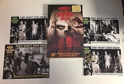 Night Of The Living Dead 50th Anniversary Box Set Blu Ray + 4 Signed Lobby Cards