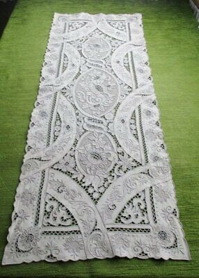 """ANTIQUE MADEIRA TABLE RUNNER-HAND EMBROIDERED-LINEN-15""""x40"""""""