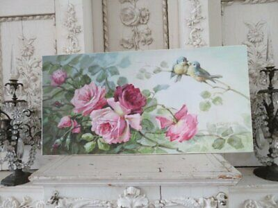 GORGEOUS Christie REPASY CANVAS PRINT 2 Precious Love BIRDS & Pink ROSES 12 by 6