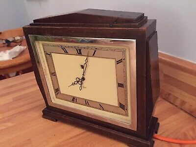 VGC Working Order Art Deco Smiths Sectric Mains Electric Mantel Clock Wood Case