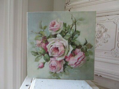 GORGEOUS Christie REPASY CANVAS PRINT Pink ROSES Soft Green Bkgd Natures Bounty