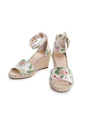 fc65e36085a Vince Camuto Leera Floral Leather Ankle Strap Espadrille Wedge Sandals in  Pretty