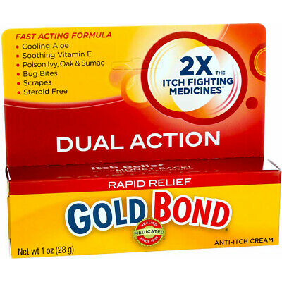 2 Pack Gold Bond Rapid Relief Dual Action Medicated Anti-Itch Cream, 1 oz
