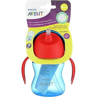 2 Pack Phillips Avent My Bendy Straw Drinking Cup, Assorted Colors, 7 oz