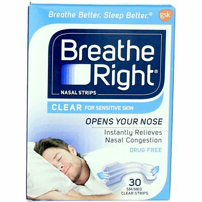 3 Pack Breathe Right Clear Nasal Strips, Clear, Small/Medium, 30 Ct