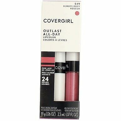 4 Pack CoverGirl Outlast All-Day Lip Color, Always Rosy 549, 0.065 fl oz, 2 Ct