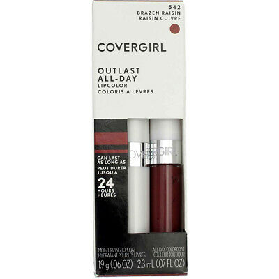 4 Pack CoverGirl Outlast All-Day Lip Color, Brazen Raisin 542, 0.065 fl oz, 2 Ct