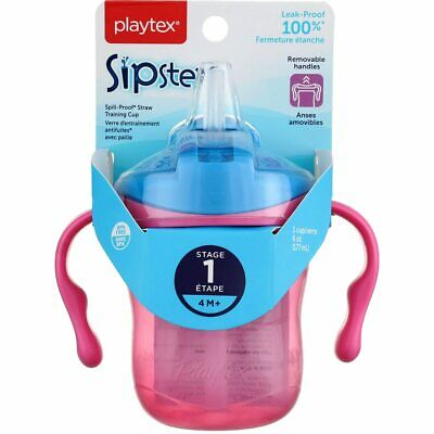 3 Pack Playtex Baby Sipsters Straw Cup, Stage 1, 6 oz