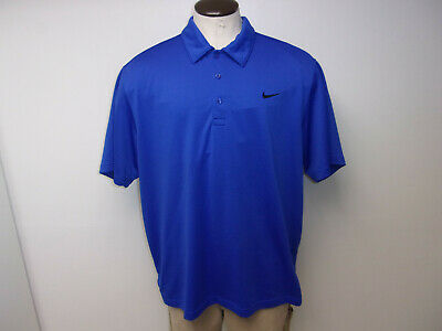 544c322ddb47 EUC Men s Nike Golf DRI-FIT sz 2XL XXL Blue SS Polo Shirt EMBROIDERED SWOOSH