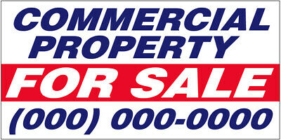 COMMERCIAL PROPERTY FOR SALE Vinyl Banner CUSTOM Sign 2 to 20' add your phone #