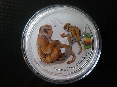 2016 Colored 2 Oz Silver Year Of the Monkey Lunar Coin Perth Mint Australia
