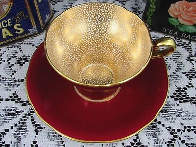Aynsley Art Deco Gold Gilt Designs Red Corset Tea Cup And Saucer