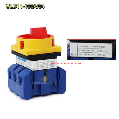 100A 3 Pole Disconnector Rotary Transfer Isolator Load Break Switch GLD11-100