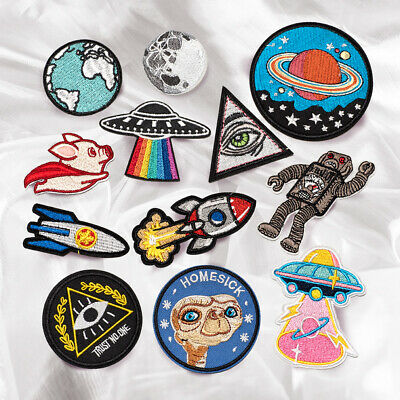 Outer Space UFO Alien Embroidered Sew On Iron On Patch Fabric Shirt Badge Craft