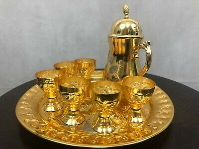 Islamic Arabic Syrian Zamzam set - Handmade Engraved Copper and Silver Dallah wi