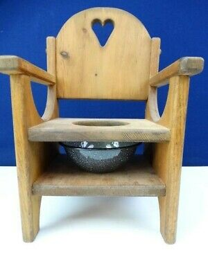 Vintage Wood Potty Seat Toilet Chair w/Chamber Pot Baby Toddler
