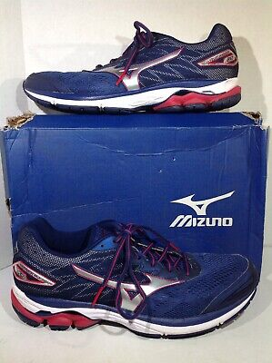 ae4befdbecbd Mizuno Mens Size 11 Wave Rider 20 Navy Red Athletic Running Shoes ZZ-48