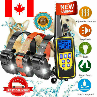Rechargeable LCD Electric Remote Dog Training Shock Collar Waterproof Canada NEW