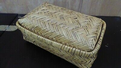 Antique Woven Cane Travel Chest Moses Basket Vintage Chest Storage Case #6