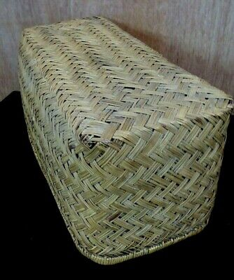 Antique Woven Cane Travel Chest Moses Basket Vintage Car Chest Storage Case