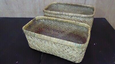 Antique Woven Cane Travel Chest Moses Basket Vintage Chest Storage Case #5
