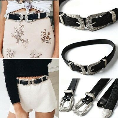 Vintage Style Women's Cowgirl Silver Single/Double Buckle PU leather Waist Belt