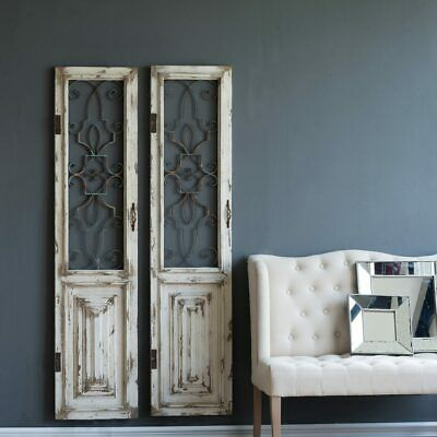Awesome set of Two Wood And Ornate Metal Doors,16'' X 67''H.