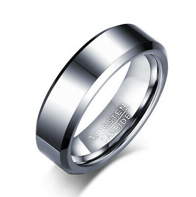 Tungsten Carbide Men's Polish Silver Beveled Edges 6MM Wedding Band Ring M72