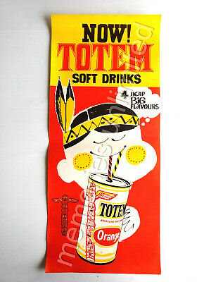 """1960s """"4 Heap Big Flavours"""" TOTEM SOFT DRINKS STORE DISPLAY POSTER Milk Bar    a"""