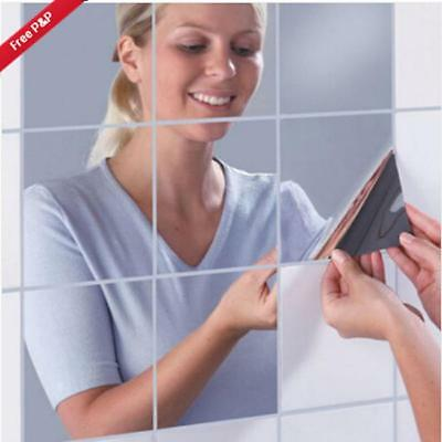 Wall Mirrors Square Mirror Tile Stickers 3D Decal Mosaic Decorative WO