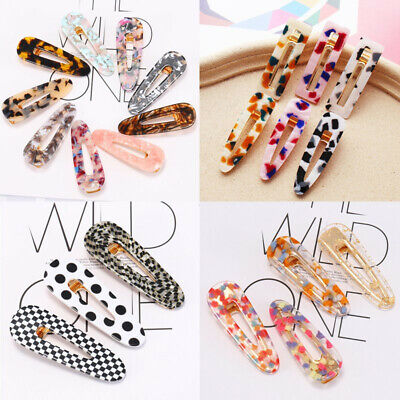 Water Drop Hollow Leopard Hairpin Resin Hair Clips Slide Barrettes Hairband UK