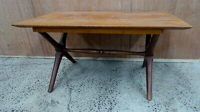 Michael Hirst Myrtle Timber Coffee Table Crossed Stretcher Base Mid Century