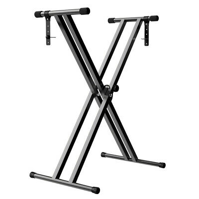 UK Heavy Duty  X-Style  Adjustable Keyboard Double Braced Stand Black