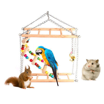 Suspension Climbing Swing Bird Parrot Squirrel Bite Beads Bell Toys Cage Decor
