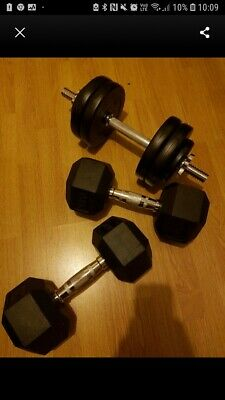 DTX Fitness 2x 5kg Rubber Dumbbell Hex Weights