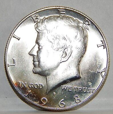 1968 D Kennedy Half Dollar, Uncirculated from Mint set, some toning   (B)