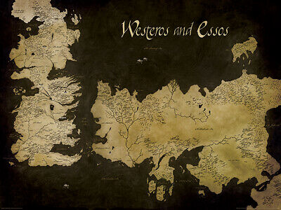 Game of Thrones Westeros and Essos Antique Map Art Print 60 x 80 cm Official
