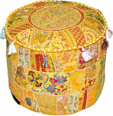 "18"" Indian Vintage Ottoman Pouf Footstool Patchwork Round Cover Cotton Handmade"