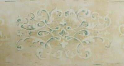 NOVO WALL CO 13.5cm x 5m Wallpaper BORDER Metallic Gold Green Blue Beige Texture
